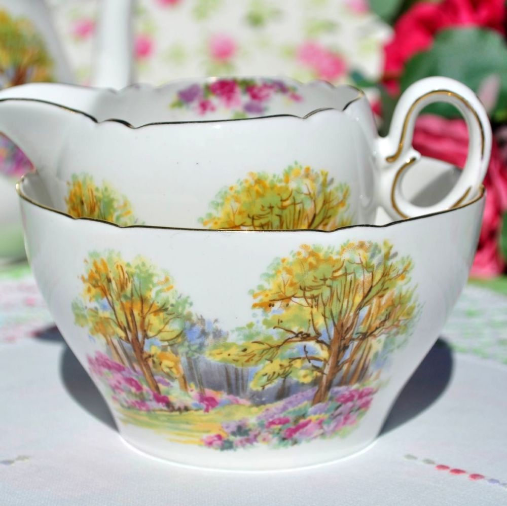 Shelley Englands Charm Ideal 0188 China Milk Jug & Sugar Bowl c.1937