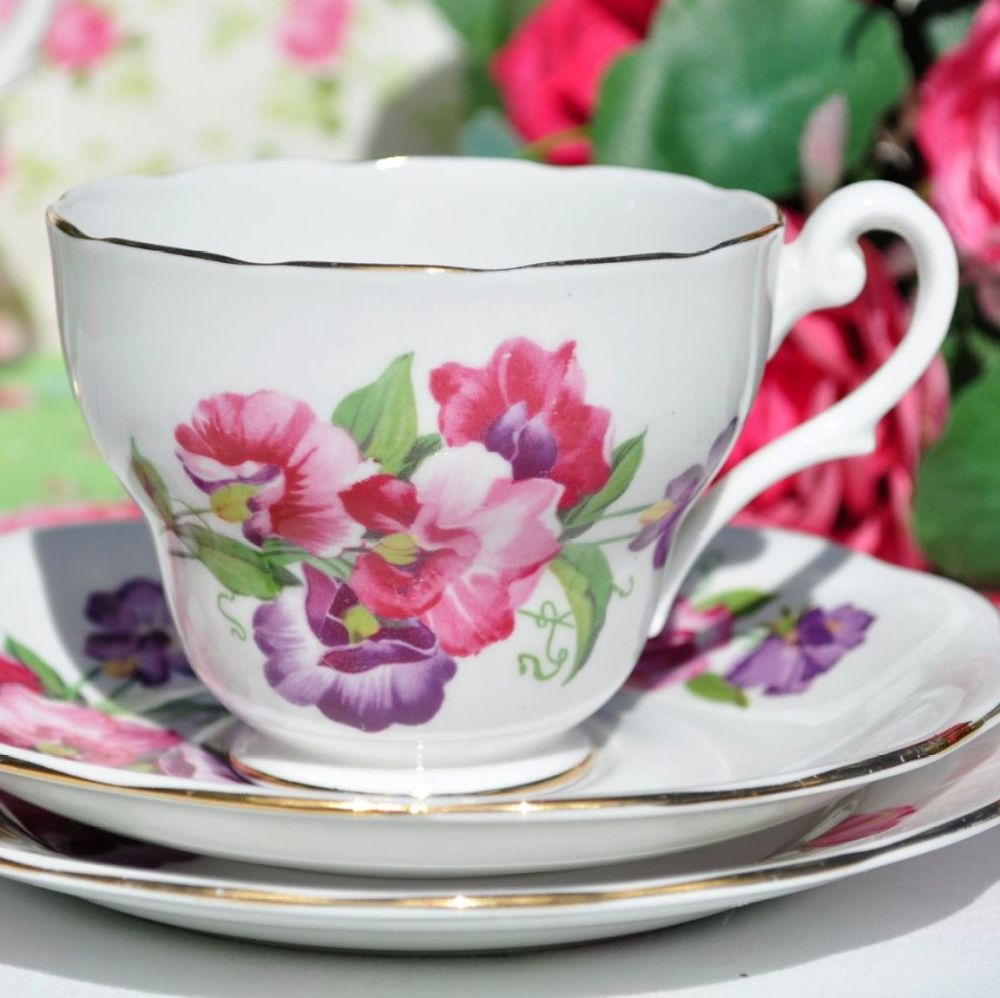 Royal Standard Sweet Pea Bone China Teacup Trio c.1950s
