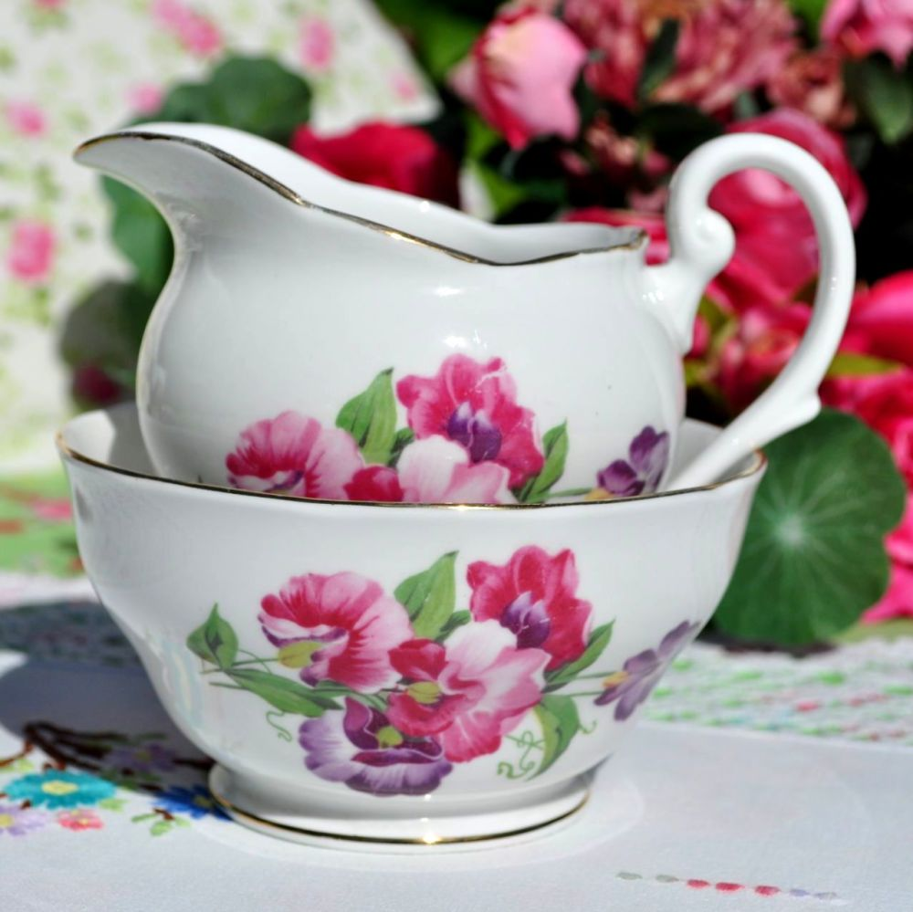 Royal Standard Sweet Pea Milk Jug and Sugar Bowl c.1950s
