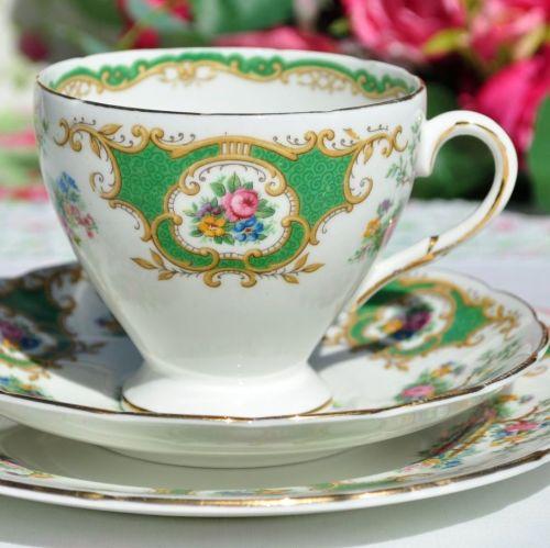 Foley Broadway Vintage 1930s Bone China Tea Cup Trio