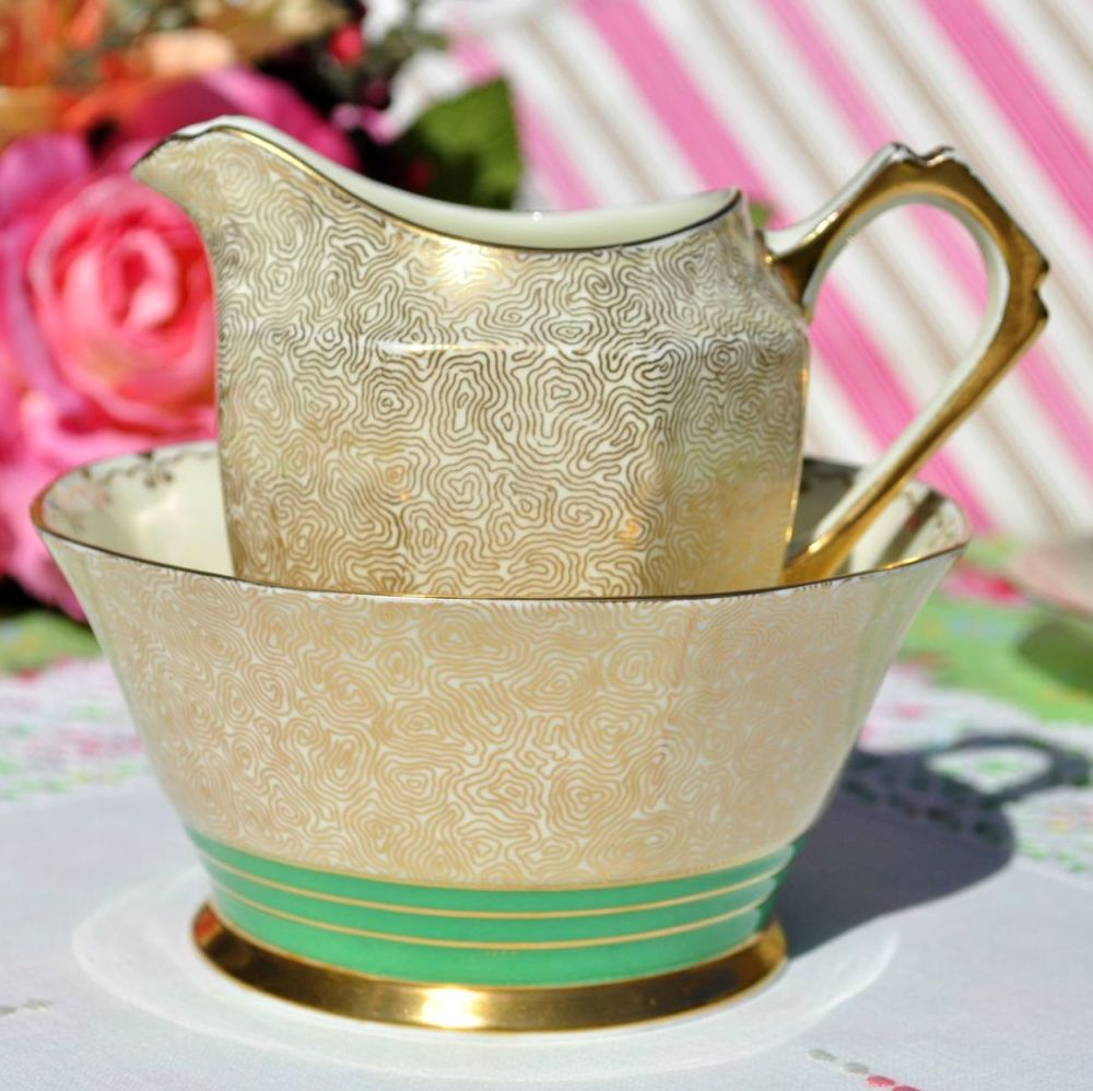 Art Deco Tuscan Gold Filigree and Green Milk Jug & Sugar Bowl  c.1933