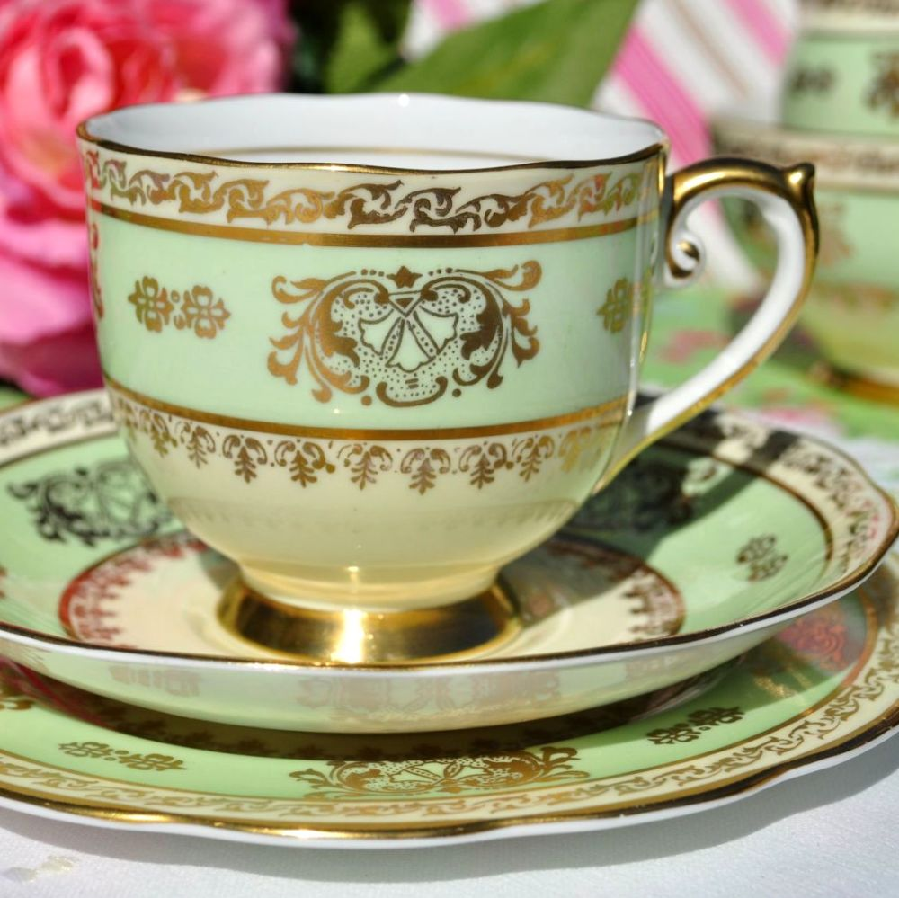 Roslyn Cream, Green and Gold Vintage Teacup Trio c. 1950s