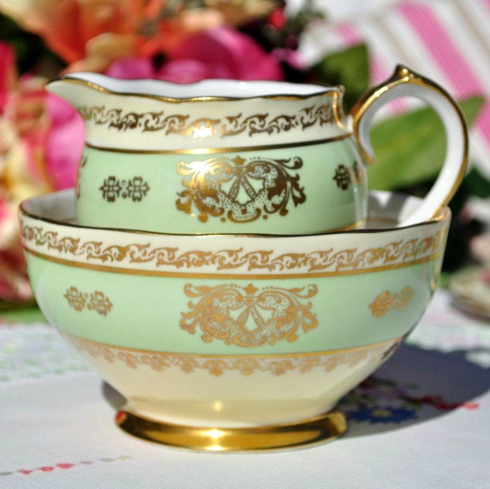 Roslyn Cream, Green and Gold Vintage Milk Jug & Sugar Bowl c. 1950s