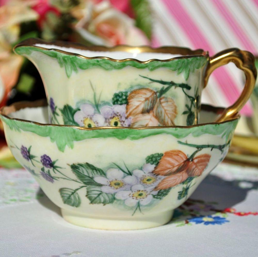 Paragon Bramble Hand Painted Milk Jug & Sugar Bowl with 22Kt Gold 1940s