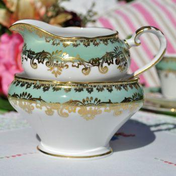 Aynsley Fern Green and Gold Vintage China Milk Jug & Sugar Bowl