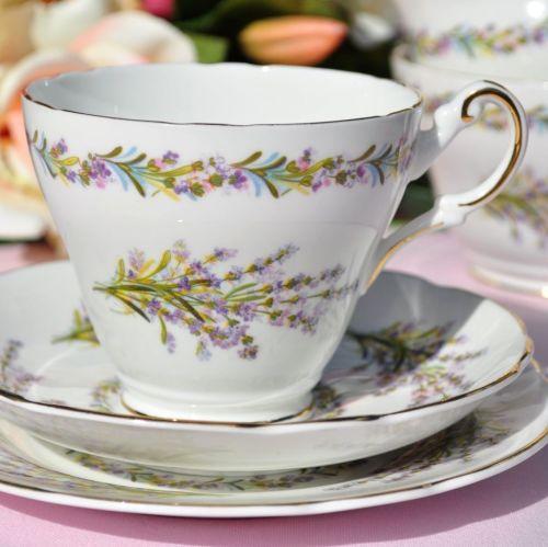 Regency Lavender Bouquet Vintage Bone China Tea Cup Trio