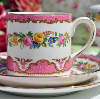 Crown Staffordshire Pink Tunis Coffee Can Trio c.1930s