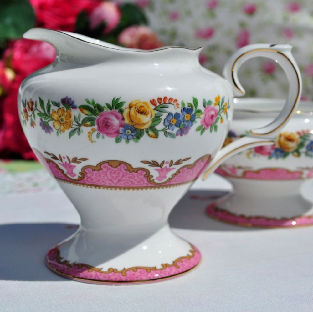 Crown Staffordshire Pink Tunis Creamer and Sugar Bowl c.1930s
