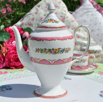 Crown Staffordshire Pink Tunis Tall Teapot or Coffee Pot c.1930s