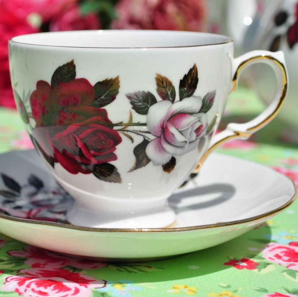 Colclough Red and White Roses Vintage China Teacup and Saucer c.1960s