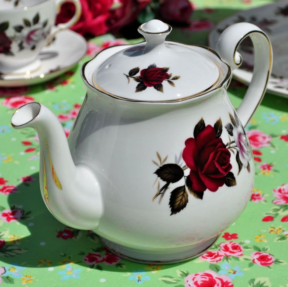 Colclough Red and White Roses Vintage China Teapot c.1960s
