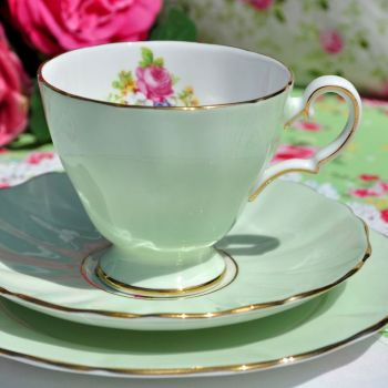 Grosvenor China Pastel Green and Posies Teacup Trio c.1950s
