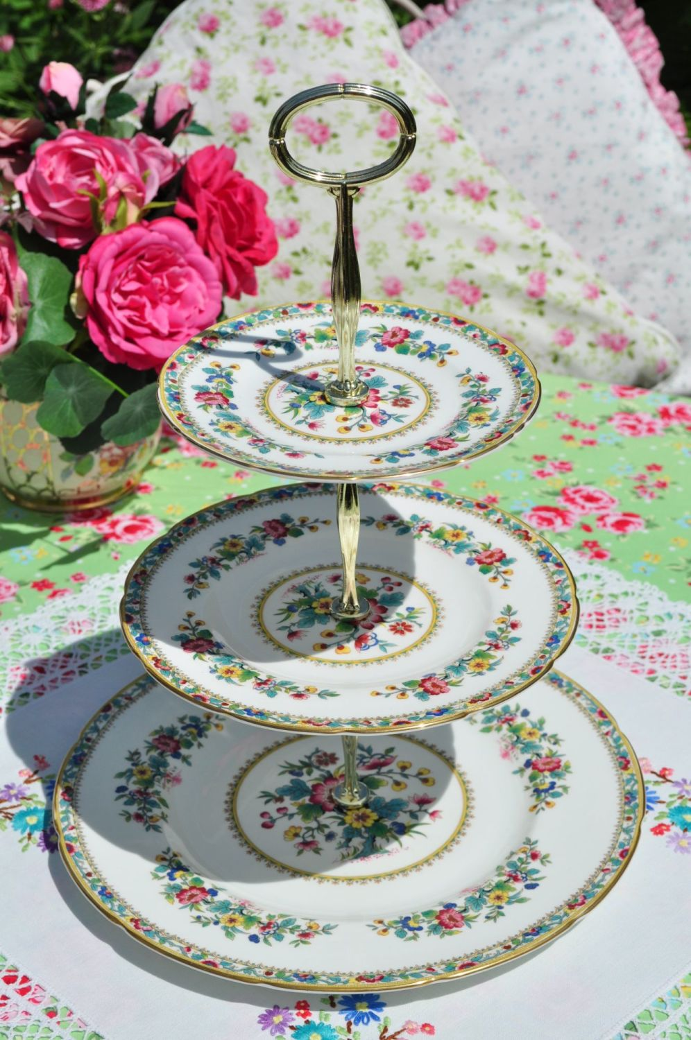 Coalport Ming Rose Three-Tiered Vintage Cake Stand