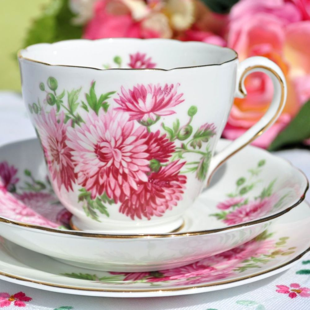 Adderley Pink Chrysanthemum China Teacup Trio c.1962+