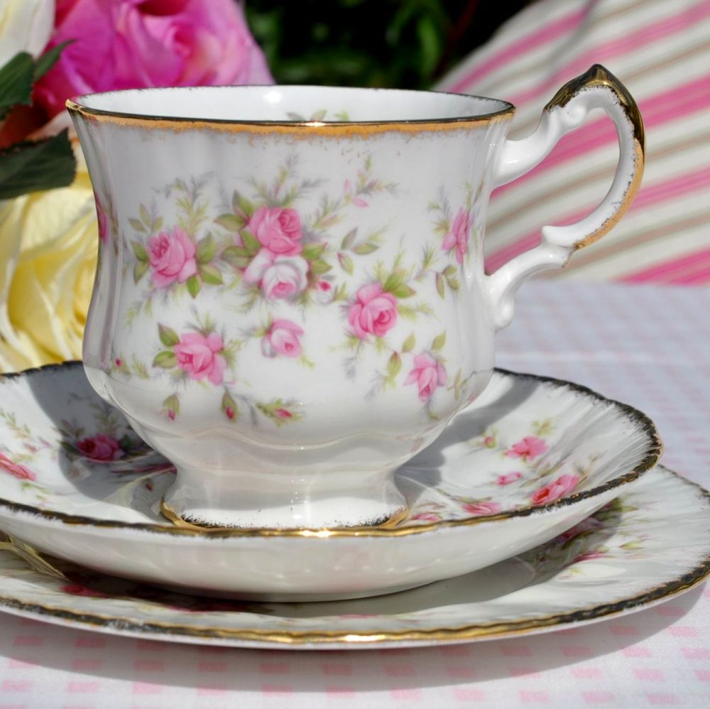Paragon Victoriana Rose Fine Bone China Vintage Teacup Trio