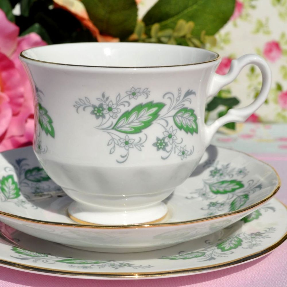 Royal Kent Gainsborough Emerald Green Bone China Teacup Trio c.1960s