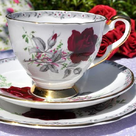 Royal Stafford Roses To Remember Vintage Teacup Trio