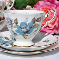 Royal Standard Blue Mist Teacup Trio c.1950s