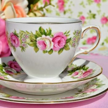 Colclough Enchantment Pink and White Roses Teacup Trio