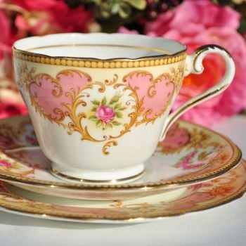 Aynsley Salmon Pink and Yellow Vintage China Teacup Trio
