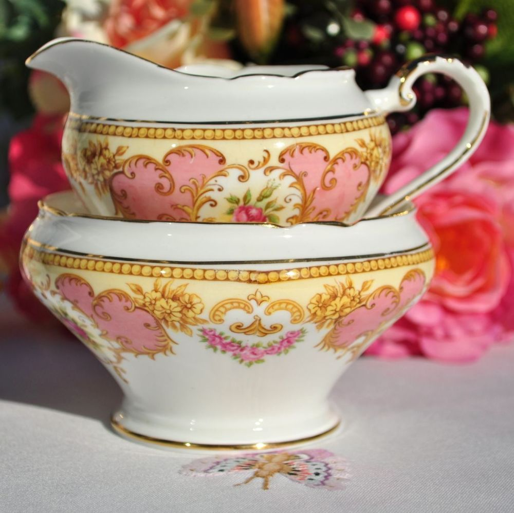 Aynsley Pink and Yellow Floral Milk Jug and Sugar Bowl