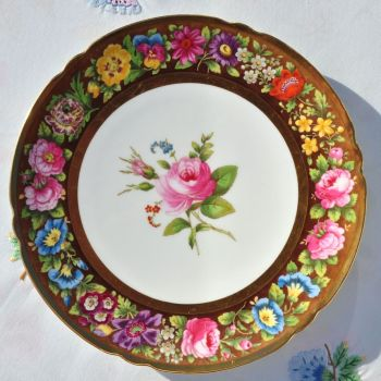 Antique Spode's B233 Polychrome Gold Gilded 23.cm Plates Retailed by Stonier of Liverpool c.1909