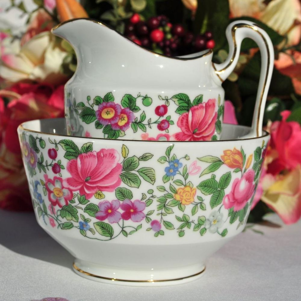 Crown Staffordshire Thousand Flowers Large Open Sugar Bowl and Milk Jug
