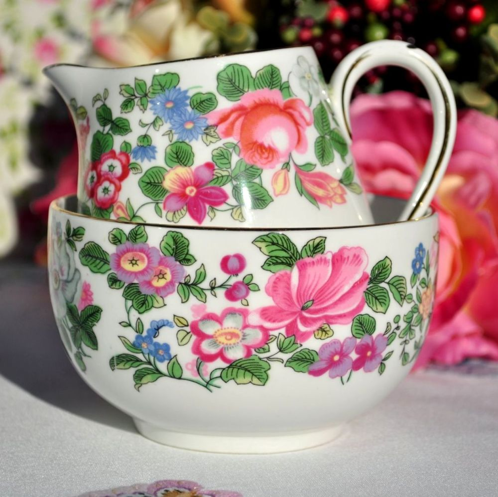 Crown Staffordshire Thousand Flowers Milk Jug or Creamer and Sugar Bowl