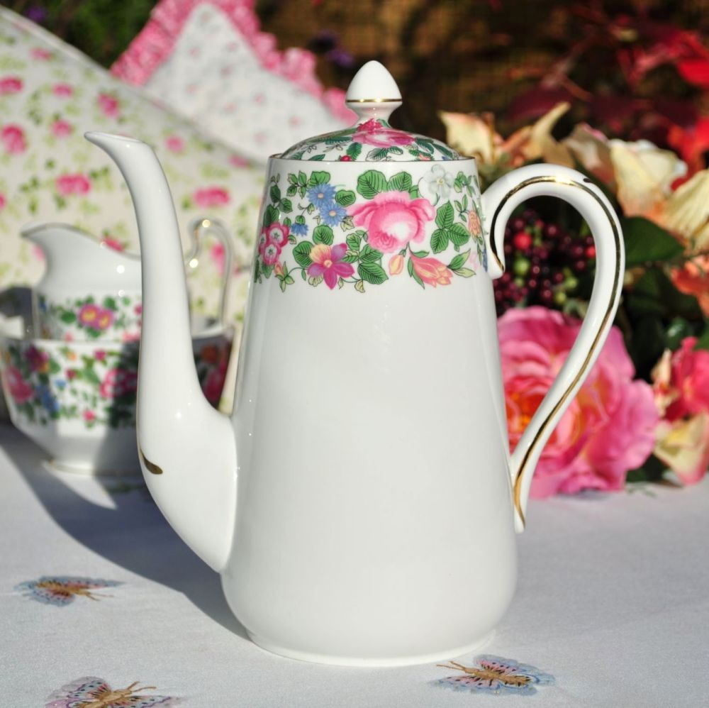 Crown Staffordshire Thousand Flowers Pattern Bone China Teapot c.1930+