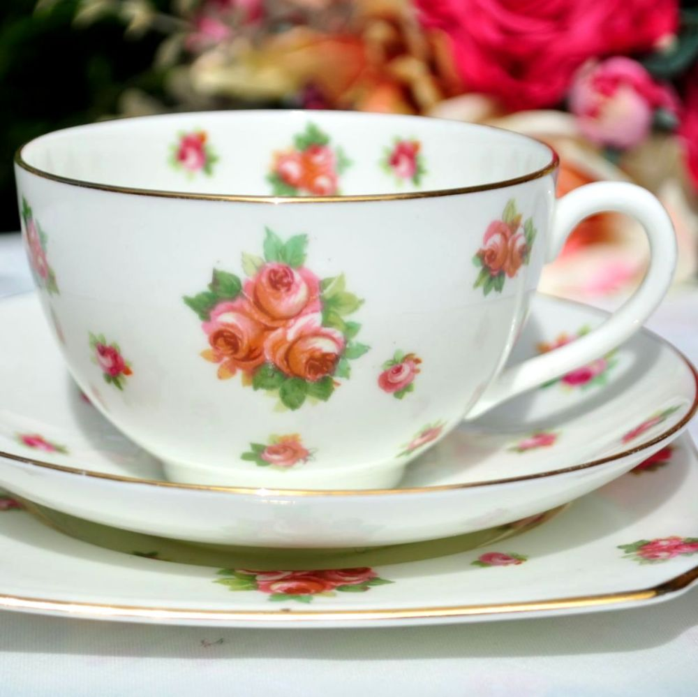 Royal Doulton Scattered Roses Teacup Trio