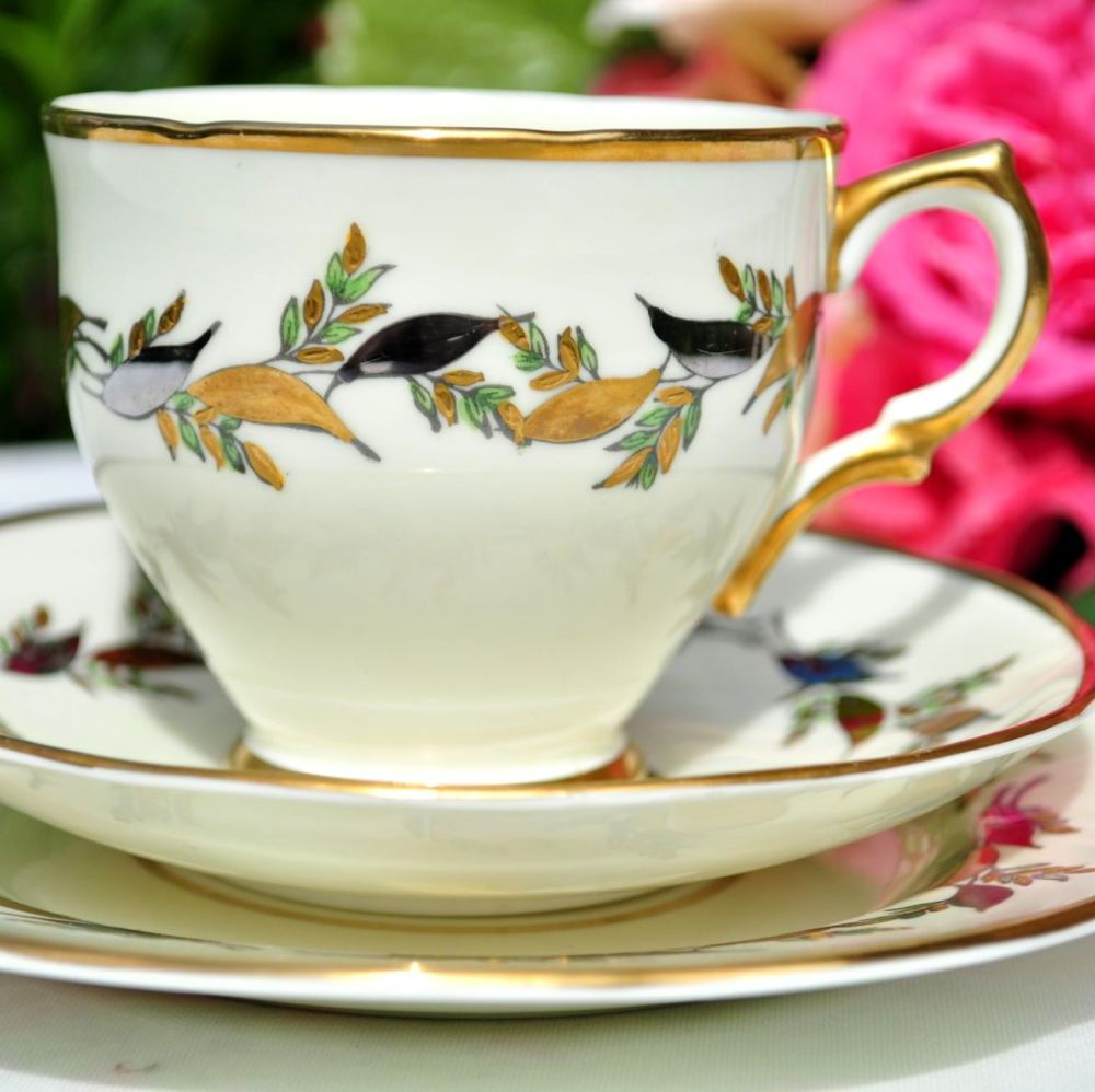 Salisbury Silver and Gold Leaves Teacup Trio