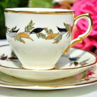 Salisbury Silver and Gold Leaves Teacup Trio c.1950s