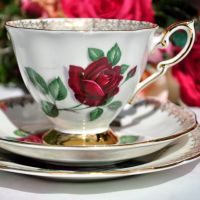 Royal Standard Red Velvet Tea Cup Trio c.1949+