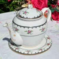 Tuscan Antique Pink Roses Teapot and Stand c.1910