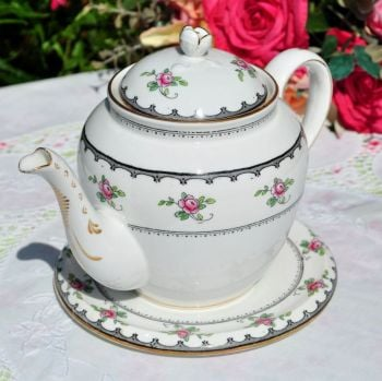 Tuscan Antique Pink Roses Teapot and Stand