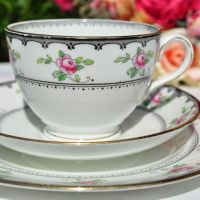 Tuscan Antique Pink Roses Teacup Trio c.1910