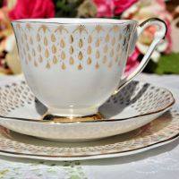 Queen Anne Golden Raindrops Teacup Trio c.1950s