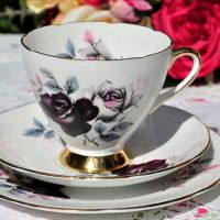 Gladstone Burgundy Rose and Gold Teacup Trio c.1970s