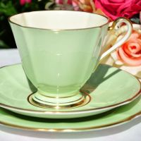 Roslyn Green and Cream Teacup Trio c.1950s