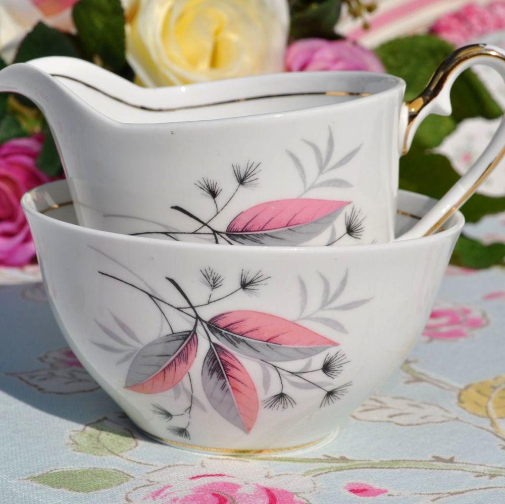 Windsor China Pink and Grey Milk Jug and Sugar Bowl c.1960's