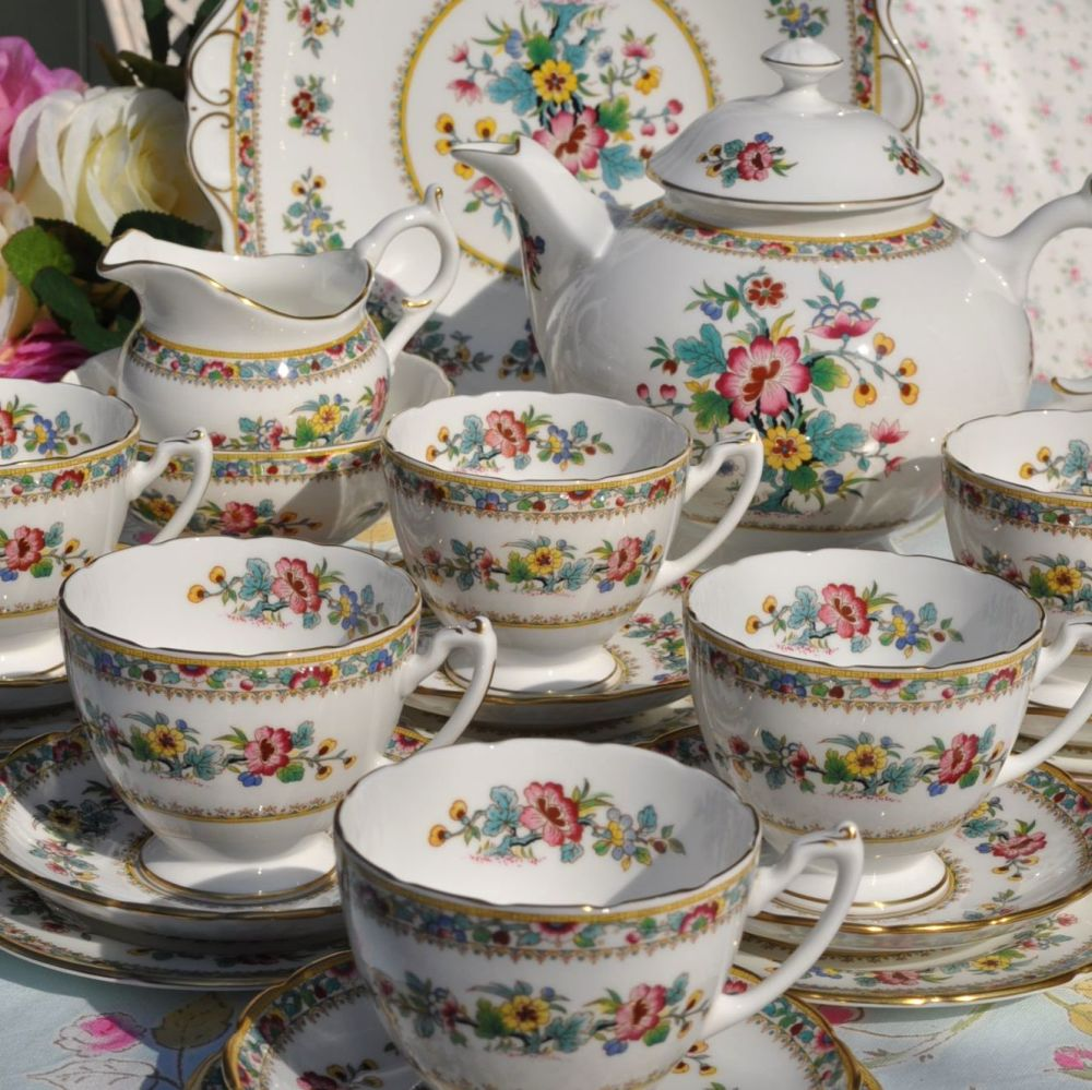 Coalport Ming Rose Vintage China Tea Set for Six with Teapot and Cake Plate