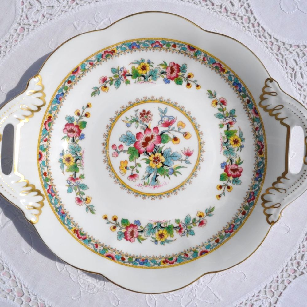 Coalport Ming Rose Bone China Handled Biscuit Tray