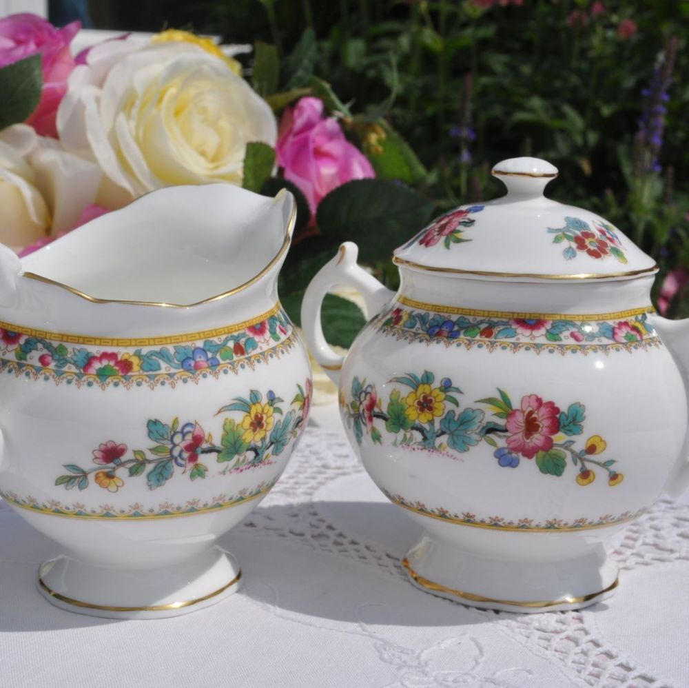 Coalport Ming Rose Bone China Covered Sugar Bowl and Milk Jug