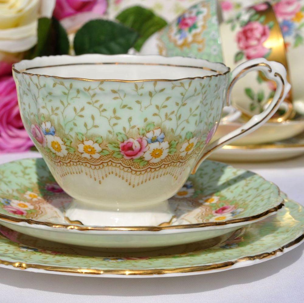 Paragon Damask Rose Fine China Teacup, Saucer and Tea Plate 1930s