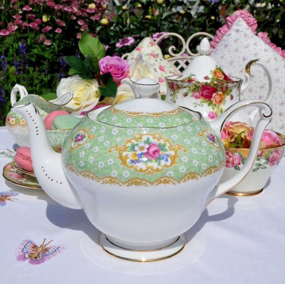 Queen Anne Gainsborough Green Floral Vintage Bone China Teapot 1.75 Pint