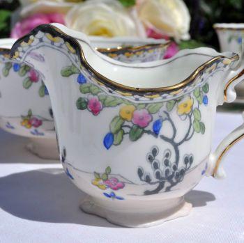 Royal Doulton Art Deco Hand Painted Cream Jug and Sugar Bowl Pattern no. H.3758