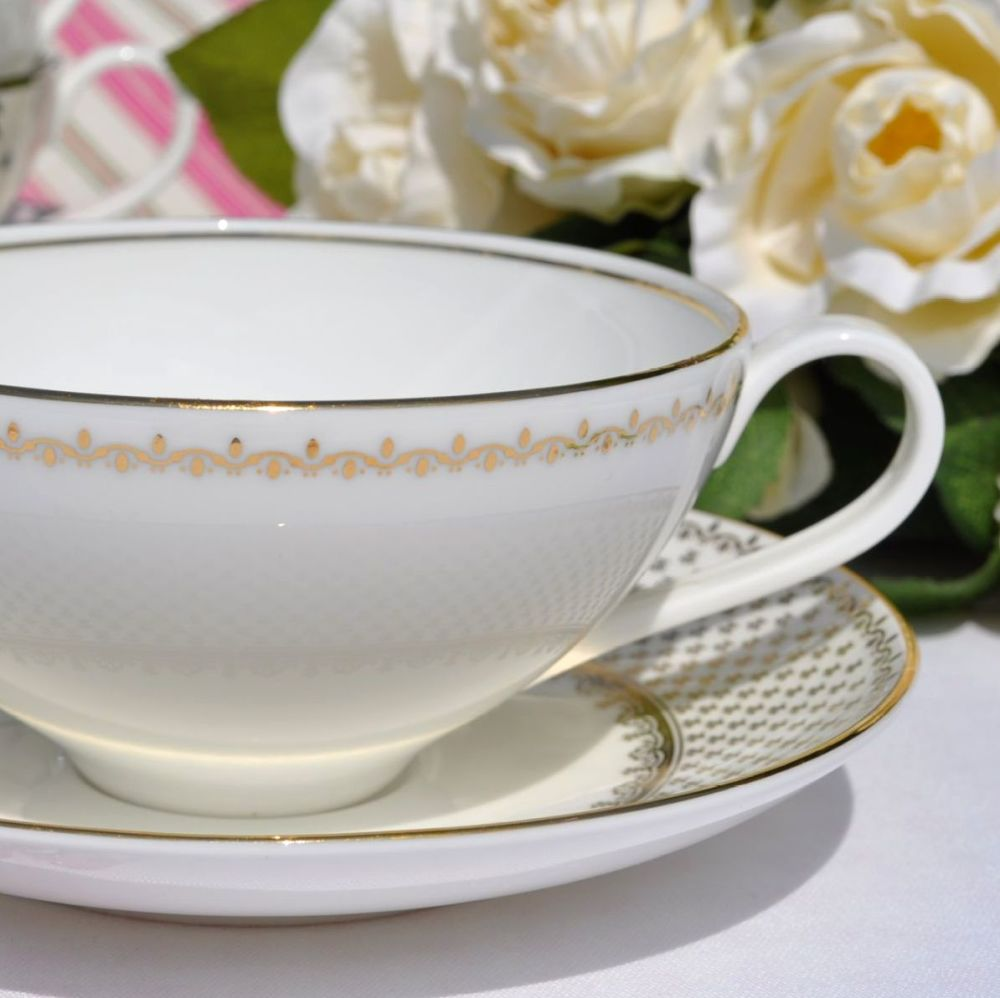 Wedgwood Martha Stewart Collection French Knot Gold Teacup and Saucer