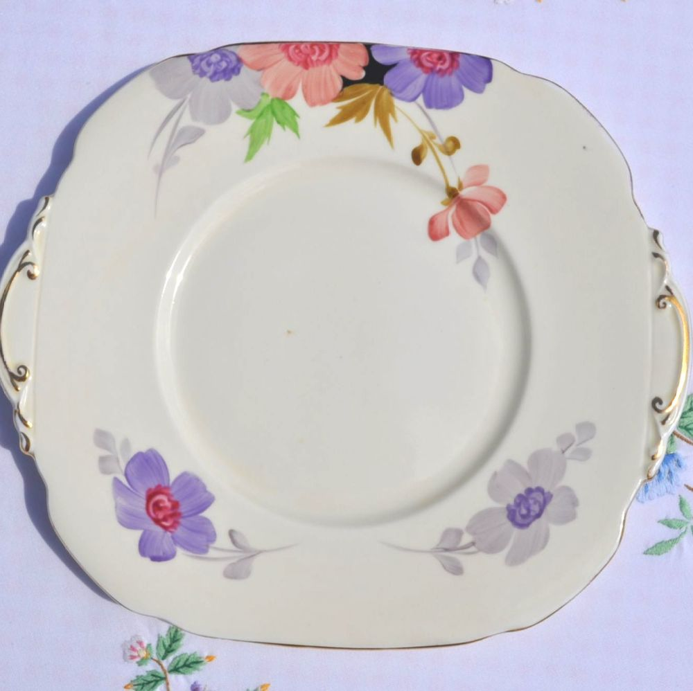 Roslyn China Hand Painted Vintage China Cake Plate c.1930s