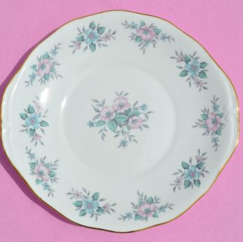 Colclough Coppelia Pastel Pink and Blue Vintage China Cake Plate c.1950's