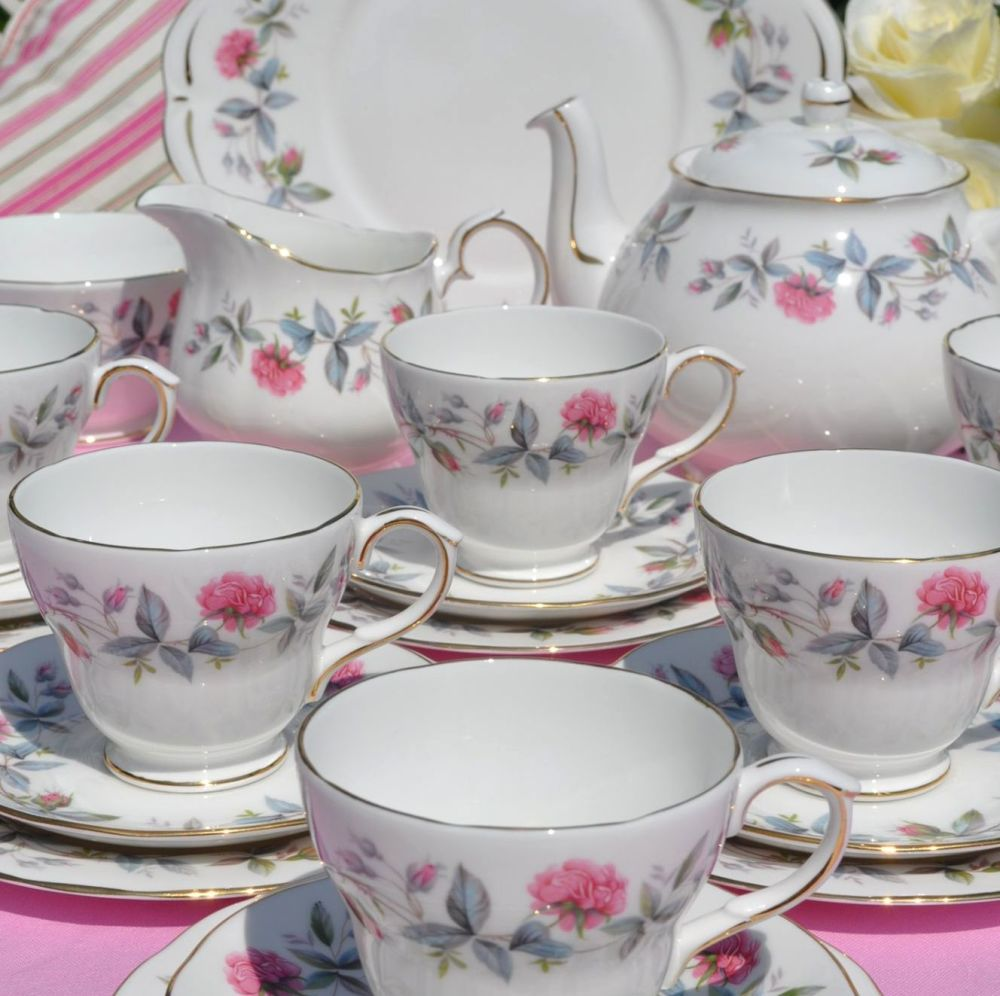 Duchess Bramble Rose English Vintage Bone China Tea Set with Teapot